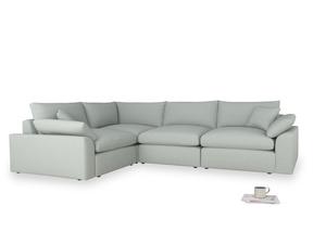 Large left hand Cuddlemuffin Modular Corner Sofa in French blue brushed cotton