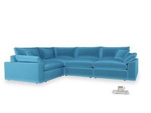 Large left hand Cuddlemuffin Modular Corner Sofa in Teal Blue plush velvet