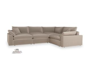 Large right hand Cuddlemuffin Modular Corner Sofa in Fawn clever velvet