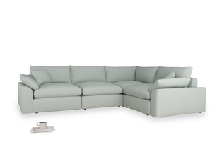 Large right hand Cuddlemuffin Modular Corner Sofa in French blue brushed cotton