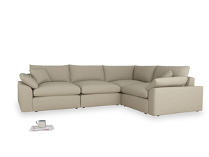 Large right hand Cuddlemuffin Modular Corner Sofa in Jute vintage linen