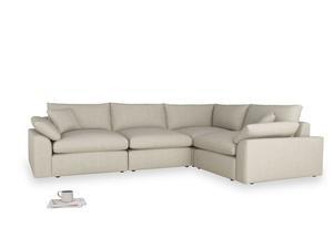 Large right hand Cuddlemuffin Modular Corner Sofa in Thatch house fabric