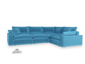 Large right hand Cuddlemuffin Modular Corner Sofa in Teal Blue plush velvet