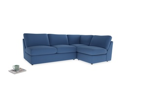 Large right hand Chatnap modular corner sofa bed in English blue Brushed Cotton