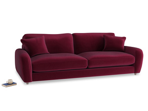 Extra large Easy Squeeze Sofa in Merlot Plush Velvet