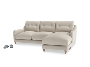 Large right hand Slim Jim Chaise Sofa in Buff brushed cotton