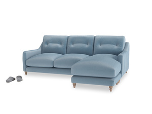 Large right hand Slim Jim Chaise Sofa in Chalky blue vintage velvet