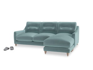 Large right hand Slim Jim Chaise Sofa in Lagoon clever velvet