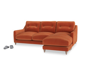 Large right hand Slim Jim Chaise Sofa in Old Orange Clever Deep Velvet
