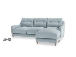 Large right hand Slim Jim Chaise Sofa in Scandi blue clever cotton