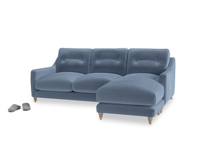 Large right hand Slim Jim Chaise Sofa in Winter Sky clever velvet