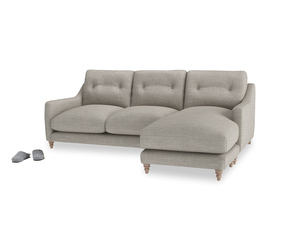 Large right hand Slim Jim Chaise Sofa in Grey Daybreak Clever Laundered Linen