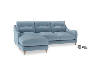 Large left hand Slim Jim Chaise Sofa in Chalky blue vintage velvet