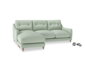Large left hand Slim Jim Chaise Sofa in Soft Green Clever Softie