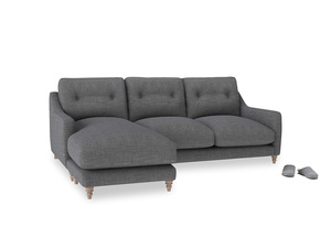 Large left hand Slim Jim Chaise Sofa in Strong grey clever woolly fabric