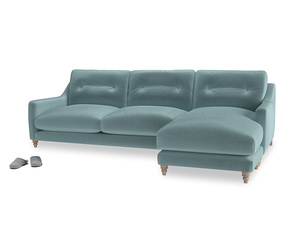 XL Right Hand  Slim Jim Chaise Sofa in Lagoon clever velvet