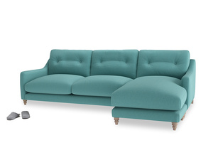 XL Right Hand  Slim Jim Chaise Sofa in Peacock brushed cotton