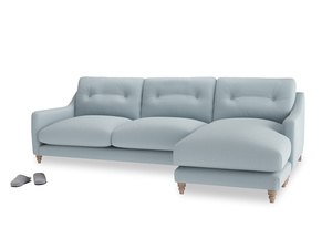 XL Right Hand  Slim Jim Chaise Sofa in Scandi blue clever cotton