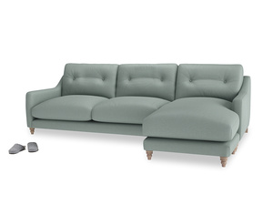 XL Right Hand  Slim Jim Chaise Sofa in Sea fog Clever Woolly Fabric