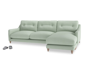 XL Right Hand  Slim Jim Chaise Sofa in Soft Green Clever Softie