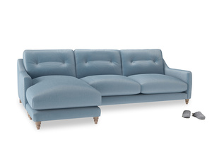 XL Left Hand  Slim Jim Chaise Sofa in Chalky blue vintage velvet