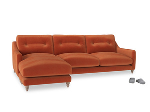 XL Left Hand  Slim Jim Chaise Sofa in Old Orange Clever Deep Velvet