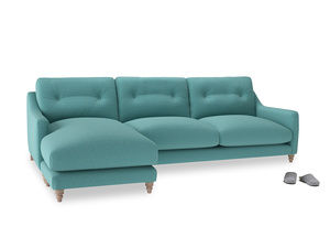 XL Left Hand  Slim Jim Chaise Sofa in Peacock brushed cotton