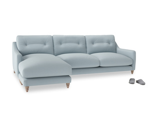 XL Left Hand  Slim Jim Chaise Sofa in Scandi blue clever cotton