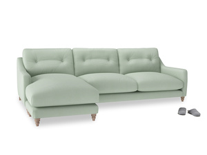 XL Left Hand  Slim Jim Chaise Sofa in Soft Green Clever Softie