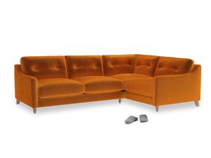 Large Right Hand Slim Jim Corner Sofa in Spiced Orange clever velvet
