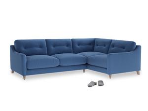 Large Right Hand Slim Jim Corner Sofa in English blue Brushed Cotton
