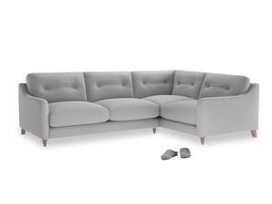 Large Right Hand Slim Jim Corner Sofa in Flint brushed cotton