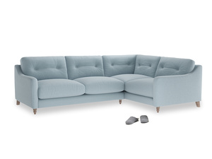 Large Right Hand Slim Jim Corner Sofa in Soothing blue washed cotton linen