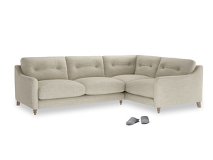 Large Right Hand Slim Jim Corner Sofa in Shell Clever Laundered Linen