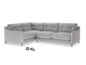 Large Left Hand Slim Jim Corner Sofa in Flint brushed cotton