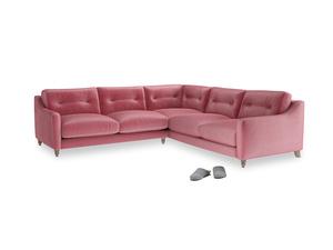 Even Sided Slim Jim Corner Sofa in Blushed pink vintage velvet