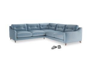 Even Sided Slim Jim Corner Sofa in Chalky blue vintage velvet