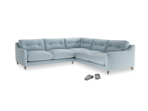 Even Sided Slim Jim Corner Sofa in Soothing blue washed cotton linen