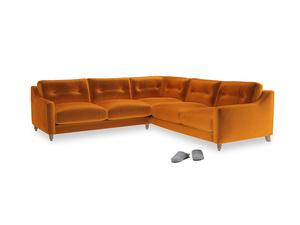 Even Sided Slim Jim Corner Sofa in Spiced Orange clever velvet