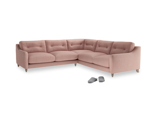 Even Sided Slim Jim Corner Sofa in Tuscan Pink Clever Softie