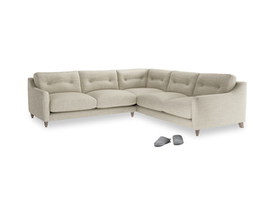 Even Sided Slim Jim Corner Sofa in Shell Clever Laundered Linen