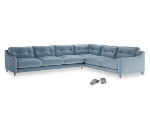 Xl Right Hand Slim Jim Corner Sofa in Chalky blue vintage velvet