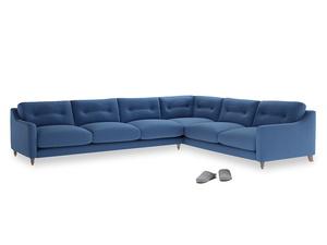 Xl Right Hand Slim Jim Corner Sofa in English blue Brushed Cotton