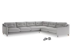 Xl Right Hand Slim Jim Corner Sofa in Flint brushed cotton