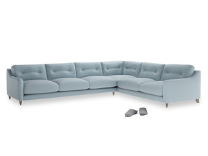 Xl Right Hand Slim Jim Corner Sofa in Soothing blue washed cotton linen