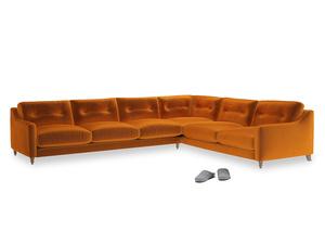 Xl Right Hand Slim Jim Corner Sofa in Spiced Orange clever velvet