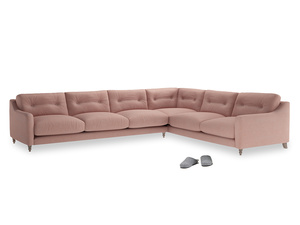 Xl Right Hand Slim Jim Corner Sofa in Tuscan Pink Clever Softie