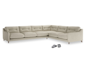 Xl Right Hand Slim Jim Corner Sofa in Shell Clever Laundered Linen