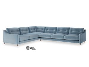 Xl Left Hand Slim Jim Corner Sofa in Chalky blue vintage velvet