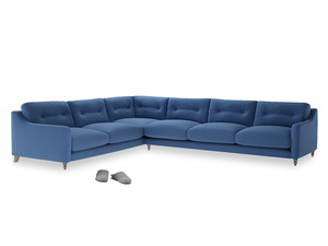 Xl Left Hand Slim Jim Corner Sofa in English blue Brushed Cotton